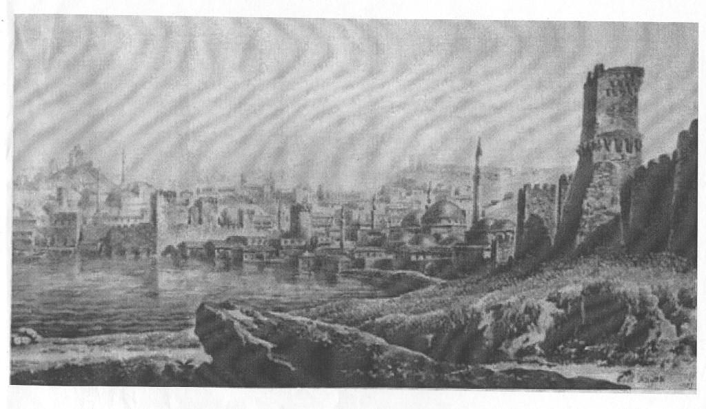 На этой редкой гравюре, предположительно турецких времён, слева вдали прекрасно виден Карантинный холм, на которой и находилась Цитадель. На верху этой горы, я думаю, дворец консула. Остальных построек не видно, но факт налицо! Холм был, и очень высокий!