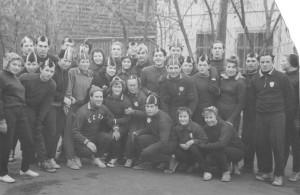 Группа конькобежцев Тюмени во время тренировки. 60-е года.